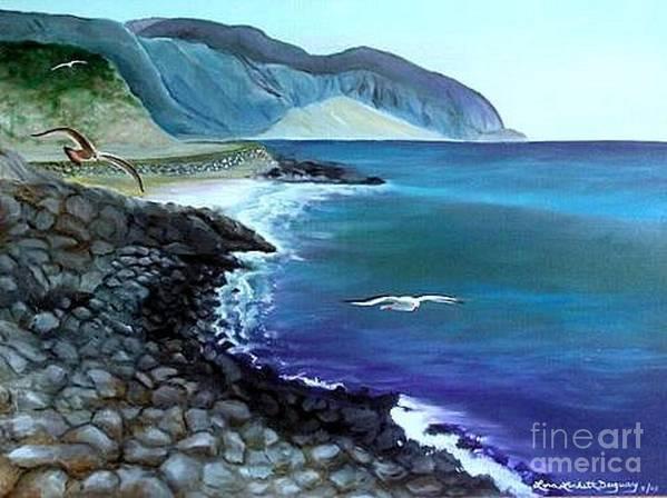 Malibu Beach Art Print featuring the painting Malibu Beach by Lora Duguay