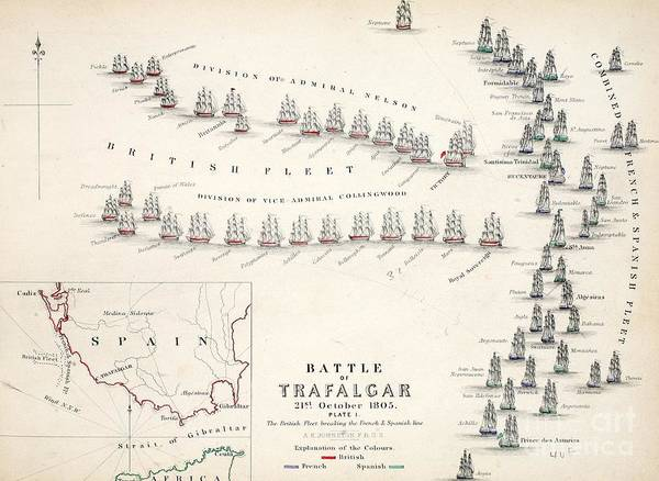 Map Art Print featuring the drawing Map Of The Battle Of Trafalgar by Alexander Keith Johnson