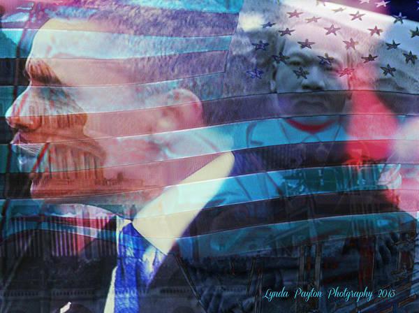 Barack Obama Prints Art Print featuring the digital art Martin And Obama by Lynda Payton