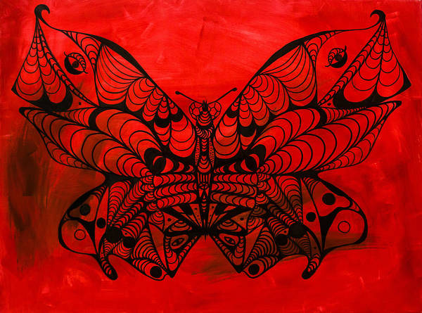 Max The Butterfly Art Print featuring the painting Max The Butterfly by Kenal Louis