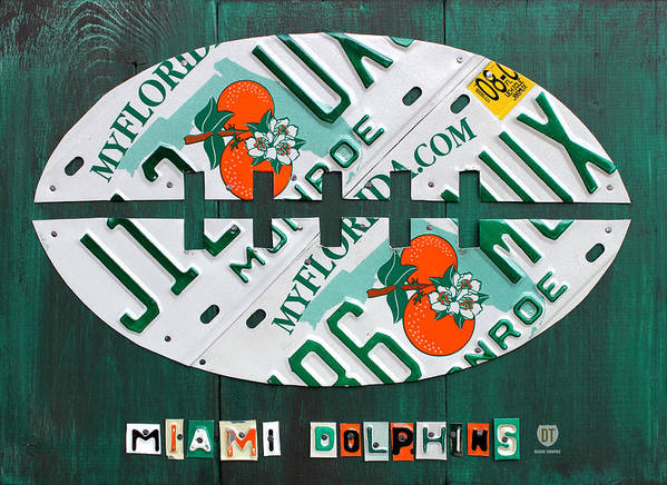 Miami Art Print featuring the mixed media Miami Dolphins Football Recycled License Plate Art by Design Turnpike