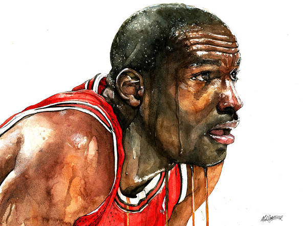 Michael Art Print featuring the painting Michael Jordan Early Days by Michael Pattison