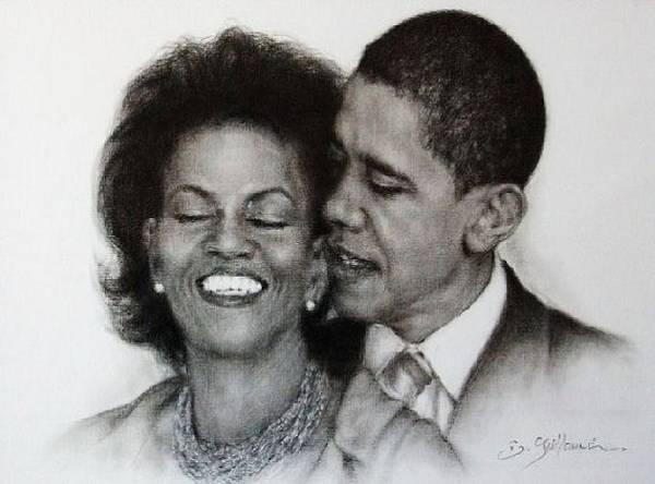 Michelle Et Barack Obama Art Print featuring the drawing Michelle Et Barack Obama by Guillaume Bruno