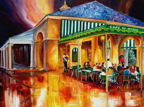 New Orleans Paintings Print featuring the painting Midnight At The Cafe Du Monde by Diane Millsap