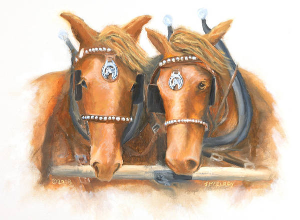 Horse Art Print featuring the painting Mini And Jake by Jerry McElroy