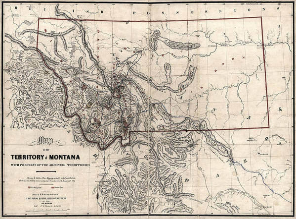 Montana Gold And Silver Diggings Map 1865 Art Print on