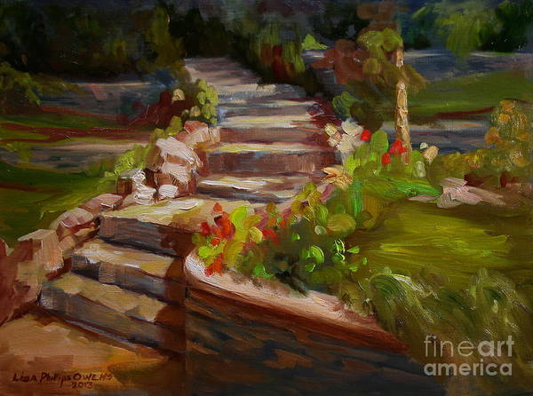 Stone Steps Print featuring the painting Morning Light by Lisa Phillips Owens