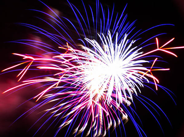 Fireworks Art Print featuring the photograph 4th Of July Fireworks 15 by Howard Tenke