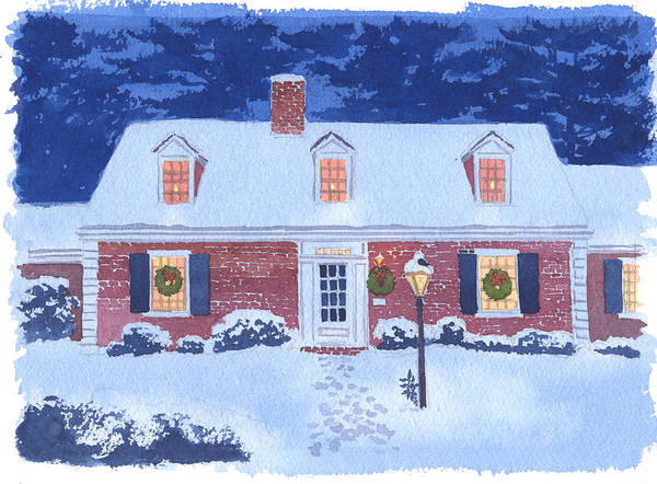 Christmas Art Print featuring the painting New England Christmas by Mary Helmreich