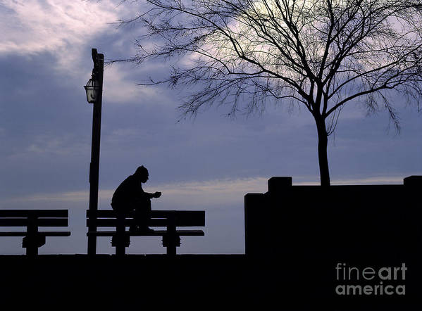 Silhouette Art Print featuring the photograph New Orleans Riverwalk Silhouette by Mike Nellums