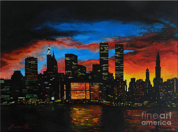 Landscape Art Print featuring the painting New York In The Glory Days by Alexandru Rusu
