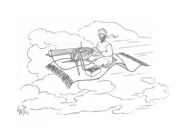 112997 Gpr George Price Arab On Flying Carpet Has Set Up A Machine Gun On It. Arab Arabia Arabian Arabs Carpet East Eastern ?ying Gun Hunt Hunting Islam Islamic Machine Middle Moslem Moslems Muslim Muslims Set Sharpshooter Violence Violent War Wartime Art Print featuring the drawing New Yorker November 20th, 1943 by George Price