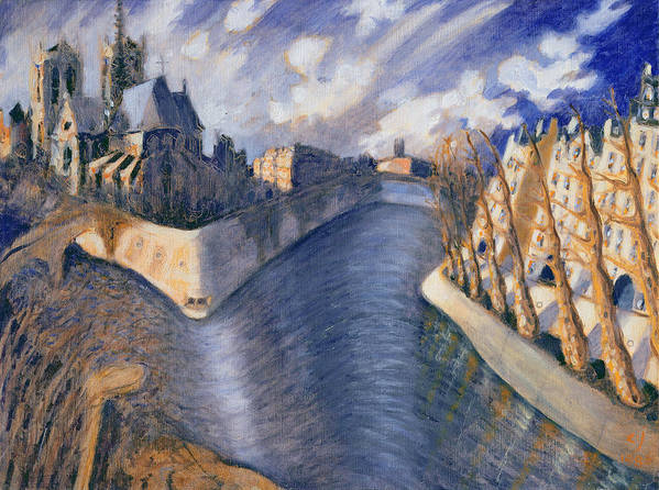 City Art Print featuring the painting Notre Dame Cathedral by Charlotte Johnson Wahl