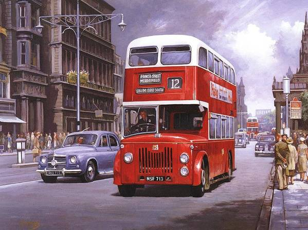 Edingburgh Art Print featuring the painting On The Golden Mile by Mike Jeffries