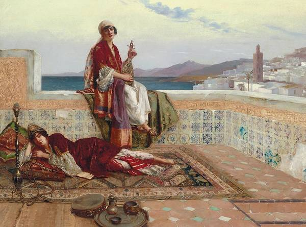 On The Terrace Print featuring the painting On The Terrace Tangiers by Rudolphe Ernst