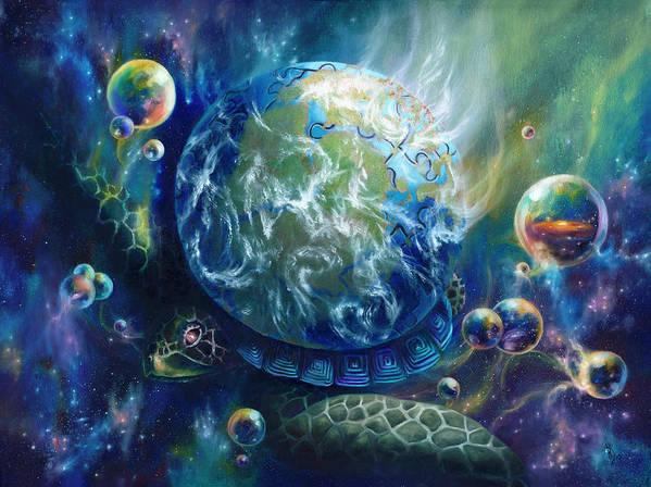 Turtle Art Print featuring the painting Pangaea by Kd Neeley