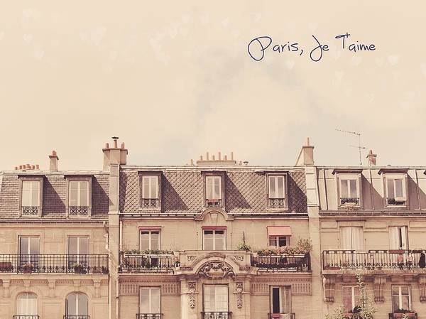 Paris Rooftop Art Print featuring the photograph Paris Je T'aime by Mable Tan