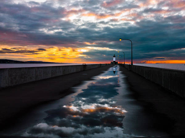 pathway To The Sun after The Rains lake Superior Sunrise reflection sunrise canal Park canal Park Lighthouse Duluth dawn On Lake Superior dawn In Canal Park wow pure Magic!greeting Cardslandscape Greeting Cards nature Greeting Cards Art Print featuring the photograph Pathway To The Sun by Mary Amerman