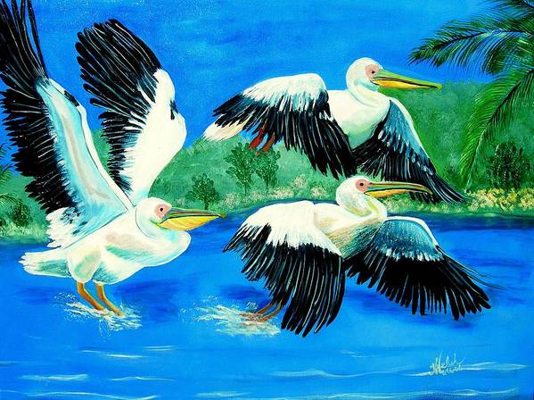 Pelican Art Print featuring the painting Pelican Trio by Kathern Welsh