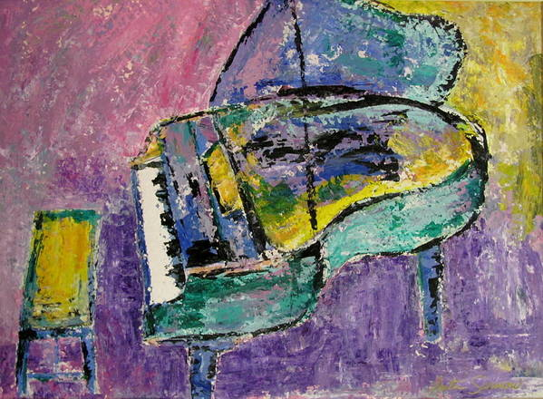 Impressionist Art Print featuring the painting Piano Green by Anita Burgermeister