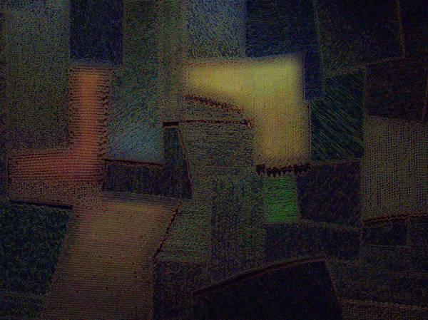 Abstract Art Print featuring the digital art Pieces by Adan-Guillermo Jordan-Garza