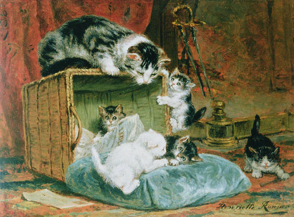 Cat Print featuring the painting Playtime by Henriette Ronner-Knip