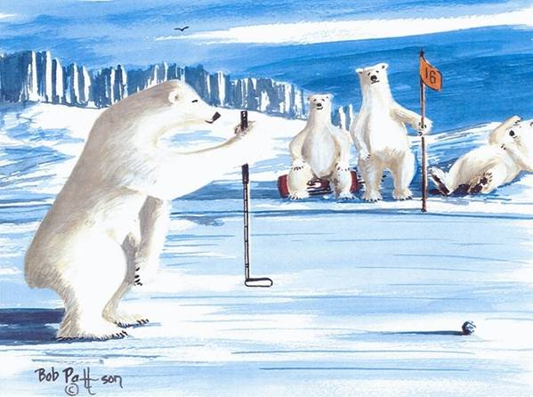 Polar Bears Art Print featuring the painting Plumb-bob Putter by Bob Patterson