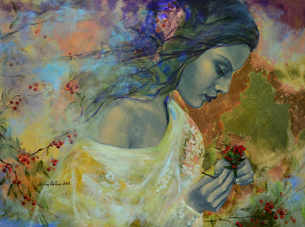 Love Art Print featuring the painting Poem At Twilight by Dorina Costras