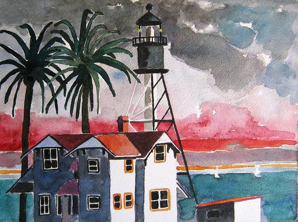 Point Loma Art Print featuring the painting Point Loma California by Lesley Giles