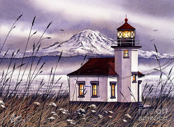 Lighthouse Fine Art Print Art Print featuring the painting Point Robinson Lighthouse by James Williamson