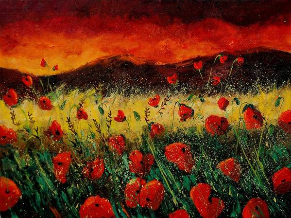 Poppies Art Print featuring the painting Poppies 68 by Pol Ledent