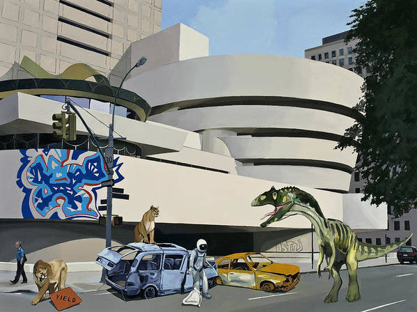 Astronaut Art Print featuring the painting Post Nuclear Guggenheim Visit by Scott Listfield