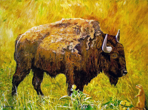 Buffalo Art Print featuring the painting Prairie Companions by Michael Durst