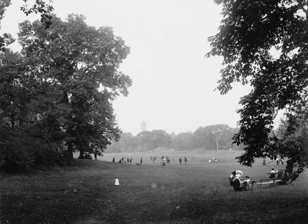 Prospect Park Brooklyn New York 1900 Photograph Tree Trees People Woman Boy Child Girl Playing Sitting Vintage Art Print featuring the photograph Prospect Park Brooklyn 1900 by Steve K