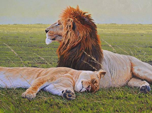Lions Print featuring the painting Protecting The Queen by Aaron Blaise