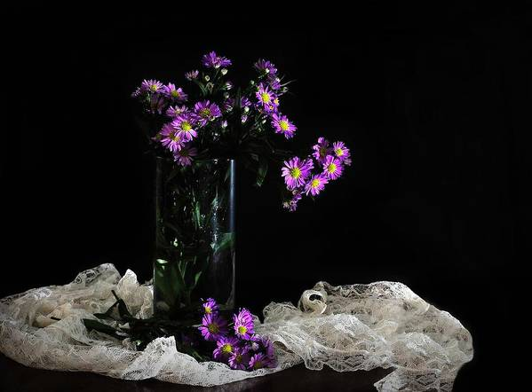 vase Of Flowers Art Print featuring the photograph Purple And Lace by Diana Angstadt