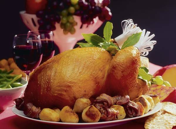 Turkey Print featuring the photograph Roast Turkey With Potatoes by The Irish Image Collection