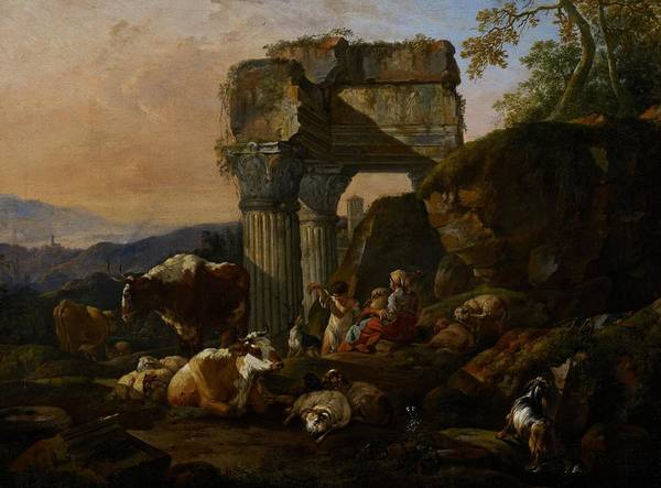 Roman Art Print featuring the painting Roman Landscape With Cattle And Shepherds by Johann Heinrich Roos