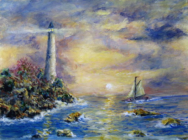 Seascape Art Print featuring the painting Sailing The Slot by Thomas Restifo
