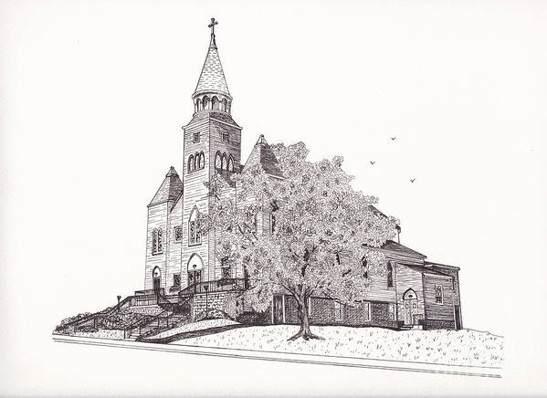Architectural Art Print featuring the drawing Saint Bridget Church by Michelle Welles