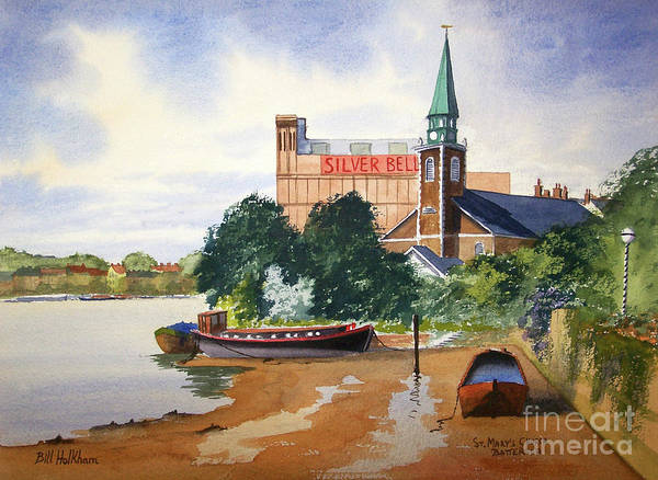 St Mary's Art Print featuring the painting Saint Mary's Church Battersea London by Bill Holkham