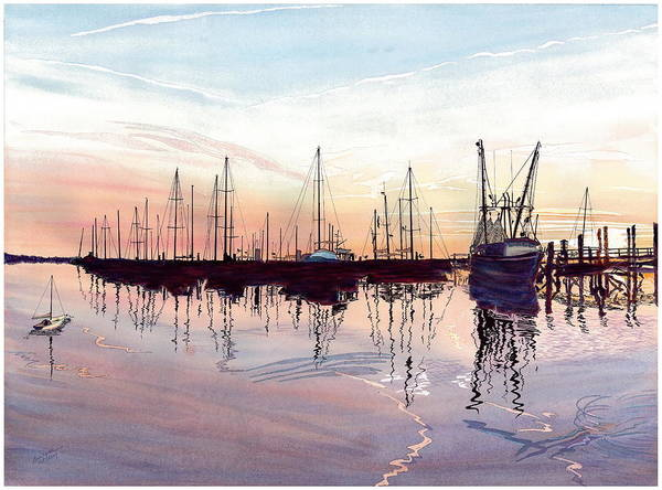 Fiery Sunset Art Print featuring the painting Saint Marys Marina  Shadows Light And Fire by Joel Deutsch