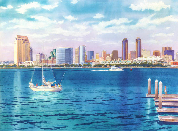 San Diego Art Print featuring the painting San Diego Skyline And Convention Ctr by Mary Helmreich