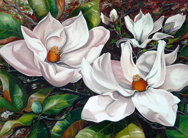 Magnolia Painting Flower Painting Botanical Painting Floral Painting Botanical Bloom Magnolia Flower White Flower Greeting Card Painting Art Print featuring the painting Scent Of The South. by Karin Dawn Kelshall- Best