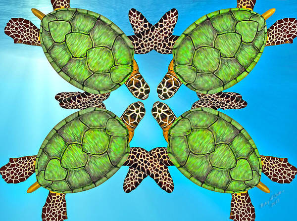 Turtle Art Print featuring the digital art Sea Turtles by Betsy Knapp