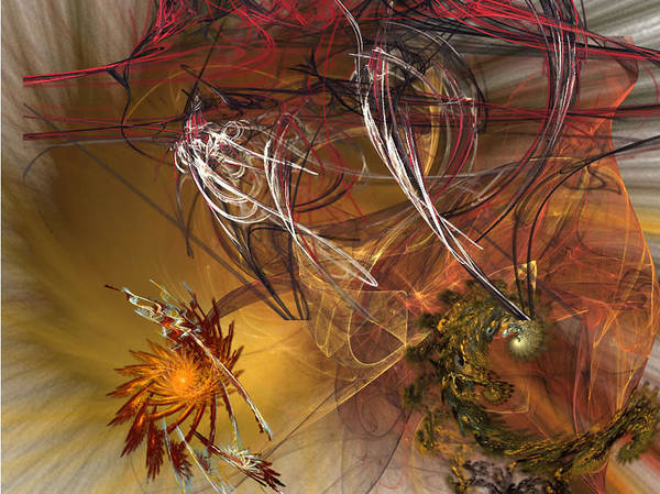Fractal Art Print featuring the digital art Searching by Donna Walsh