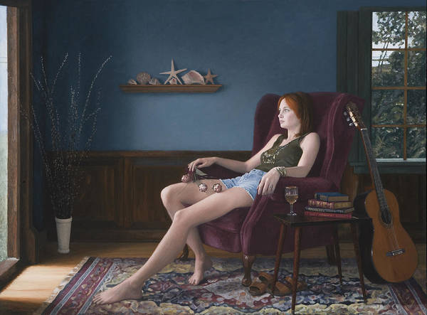 Female Art Print featuring the painting Seashells And Guitar by Charles Pompilius