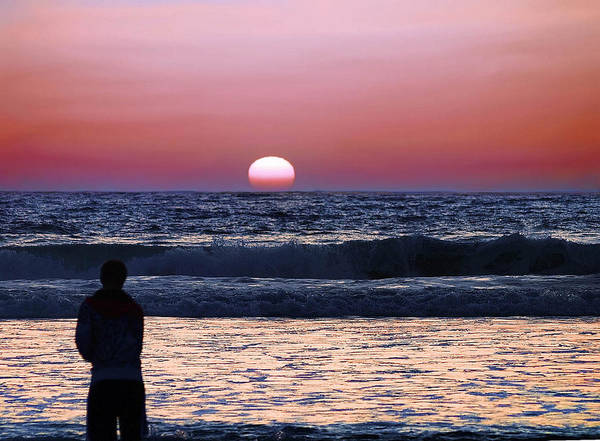 Person Art Print featuring the photograph See The Sun Set by Camille Lopez