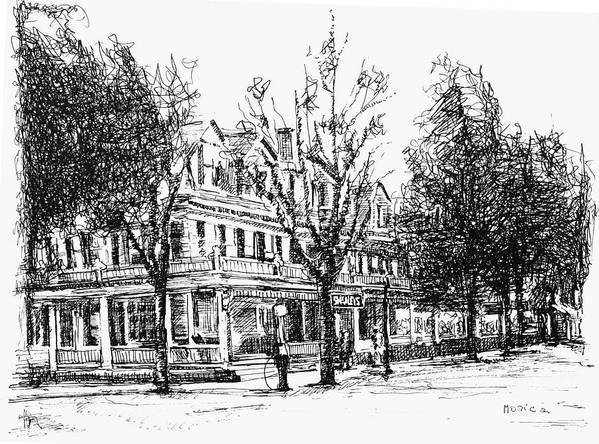 Upstate Print featuring the drawing Shanley Hotel by Monica Cohen