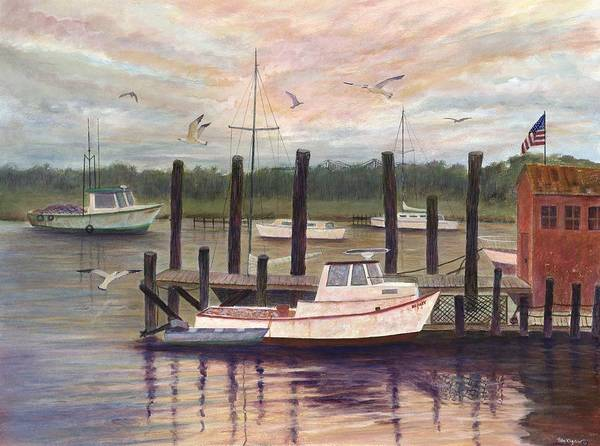 Charleston; Boats; Fishing Dock; Water Art Print featuring the painting Shem Creek by Ben Kiger